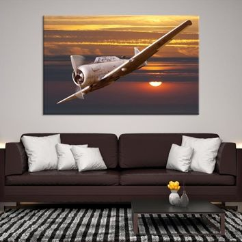 49248 - Old Vintage Plane Flying at Sunset, Airplane Wall Art, Airplane Canvas, Sunset  Wall Art, Large Canvas Print, Framed Wall Art, Framed Canvas Art, Housewarming Gift