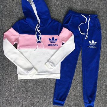 Adidas Trending Women Casual Hoodie Long Sleeve Sweater Pants Trousers Set Two-Piece Blue Pink