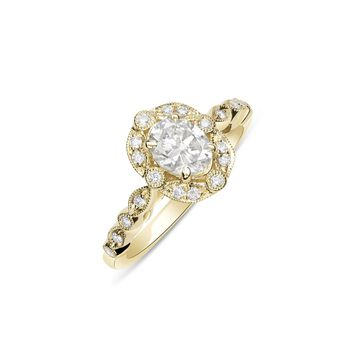 Oval Diamond with Vintage Style Halo Engagement Ring in 14K Yellow Gold