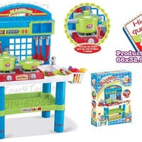 Pretend Play Deluxe Toy Kitchen Playset with Lights and Sounds Toy Pots, Pans