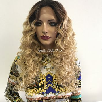 Blond Ombre' Long Wavy Hair - Roman 418 75
