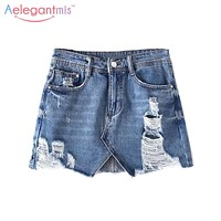 Aelegantmis Short Summer Ripped Denim Skirt Women 2017 Blue Fashion Ladies Mini Hole High Waist Jean Skirt Asymmetric A Line
