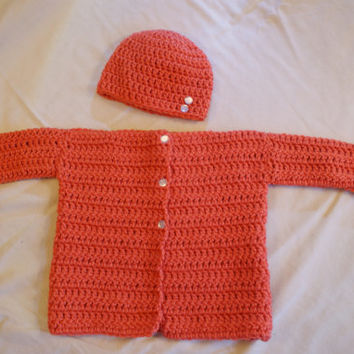 Orange Baby Sweater Hat Gift Set Newborn - 6 months Cardigan Spring Easter