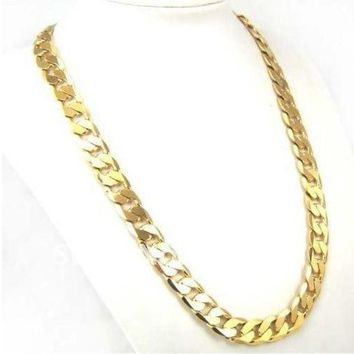 LMFON1O Factory Price 24inch 10mm 18K GP Yellow Gold Plated Men Chain Necklace African Classic Jewelry = 5987587265 Day First