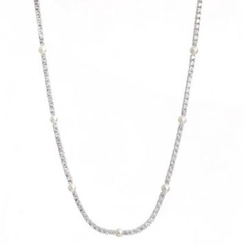 CRISLU Freshwater Cultured Pearl and Cubic Zirconia Tennis Necklace