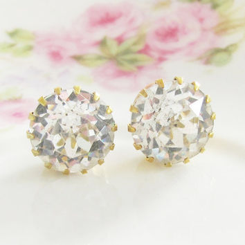 Chunky Rhinestone Post Earrings Vintage by silverliningdecor