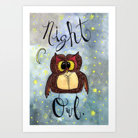 Night Owl Art Print by The Lady Derp