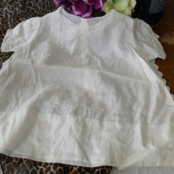 Antique Baby Gown Dress Edwardian Cotton Embroidered Summer Baby Gift Baby Shower
