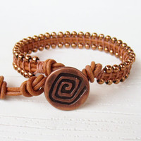 Copper Leather Wrap Bracelet - Leather Jewelry - Girlfriend gift - Beaded Wrap Leather Bracelets for Women - Stacking bracelets for girls