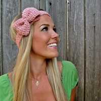 Pale Pink Bow Headband With Natural.. on Luulla