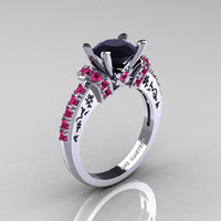 Modern Armenian Classic 10K White Gold 1.5 Carat Black Diamond Pink Sapphire Wedding Ring R137-10WGPSBD