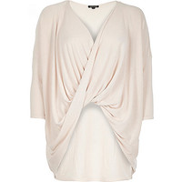 Light pink drape front knitted top
