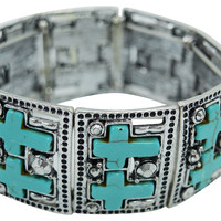 Western Cowgirl Turquoise Double Cross Metal Stretch Bracelet