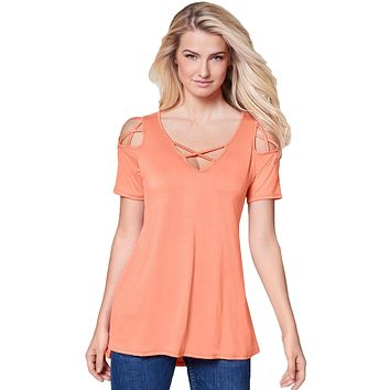 Coral Strappy Cold Shoulder Top
