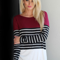 Burgundy And Black Striped Top