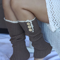 Legwarmers - Open Toes, Knitted,  Dark Tan, Brown, Wood Buttons, Cotton, Organic , Boot Cover, Socks, Crochet, Lace Trim, Christmas Gift,