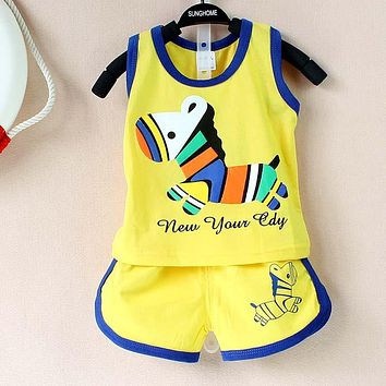 0-2 Year Baby Cute Pattern Vest & Shorts Clothing Sets