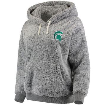 Women's Heathered Gray Michigan State Spartans Relaxed Fit Sherpa Pullover Hoodie