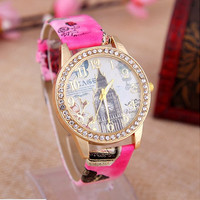 Women's Rhinestone London Style Big Ben Graffiti Watch Leather Wrist