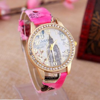 Women's Rhinestone London Style Big Ben Graffiti creative watch Leather Wrist