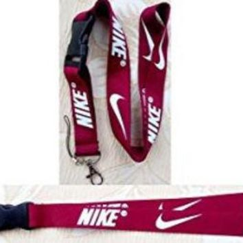 DCCK8BW Nike Lanyard Keychain Holder Maroon Red with White