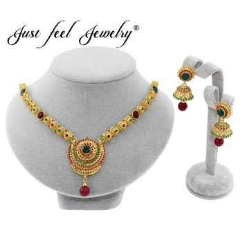 JUST FEEL 2018 Dubai Jewelry Sets Colourful Crystal Gold-color Jewelry Sets Bridal Gift Ethiopian Wedding Costume Accessories
