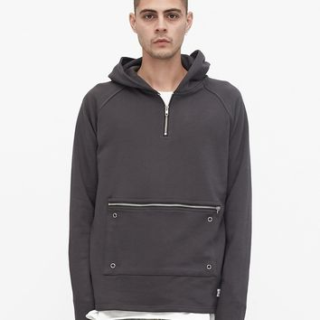 Front Zip Four-Tab Hoodie in Charcoal