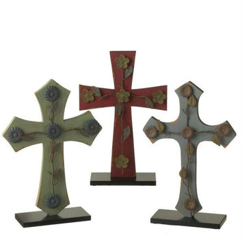 "3 Wooden Crosses - 16 "" H X 10.5 "" W X 3.5 "" D"