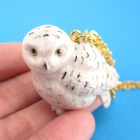 Porcelain Snowy Owl Hedwig Bird Shaped Hand Painted Ceramic Animal Pendant Necklace | Handmade