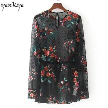 Women Floral Embroidery Tulle Blouse Shirt Long Sleeve O Neck Elastic Waist Black Sexy Tops