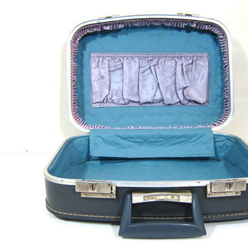 Vintage gray Hard Shell Suitcase //  Small with blue lining
