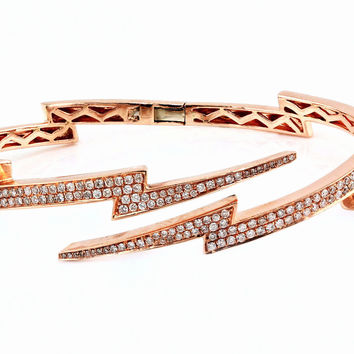 1.46ct Pavé Diamonds in 14K Gold Lightning Bolt Bangle Cuff Bracelet - 6.5""