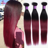 Ombre Malaysian Straight Hair 3 Pcs Ombre Hair Extensions