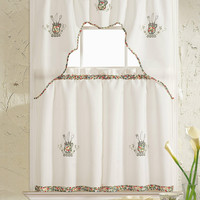 """Amanda Collection Embroidered Kitchen Curtain Set: One Valance (60"""" x 36"""") and Two Tiers (30"""" x 36"""" x 2PCS) - Kitchen Bliss"""