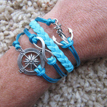 Made in the USA - Compass Nautical Anchor Karma Infinity Turquoise Blue Friendship Charm Bracelet