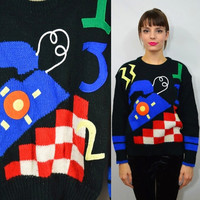 80s Telephone Sweater MEDium Vintage Funky Club Kid Hipster 1980s Womens Clothing Oversize Black 3D Textured Felt Applique Checkered Stripe