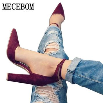 2017 spring new women shoes basic style retro fashion high heels pointed toe office &