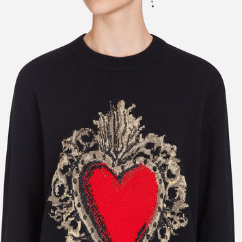 Women's clothing | Dolce&Gabbana - PULLOVER IN WOOL BLEND WITH TWO-TONE EMBROIDERY