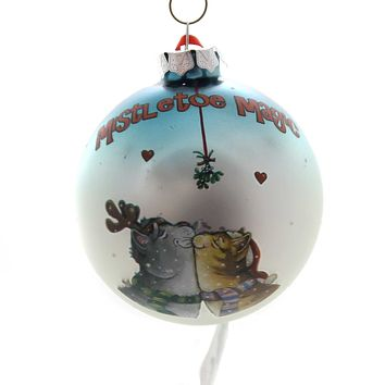 Holiday Ornaments MISTLETOE MAGIC CATS Glass Gary Patterson 6001956