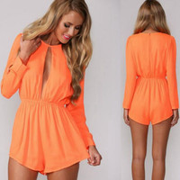 Star Long Sleeve Round-neck Hollow Out Stylish Sexy Romper [6315448961]