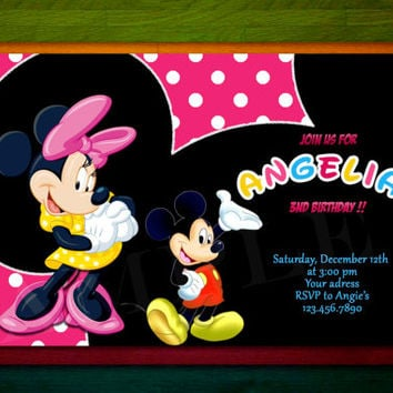 Disney Mickey Mouse Minnie mouse Birthday Invitation
