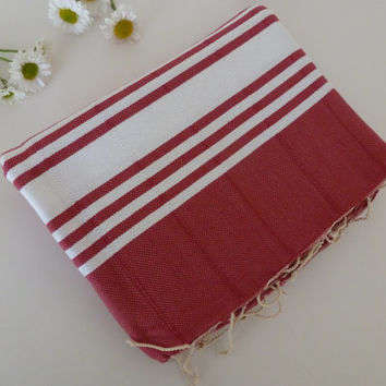 Turkish Towel home-garden / bath-beauty Peshtemal handmade Natural Soft Cotton Beach Hammam, gift for her, women, pool, valentine's day, red