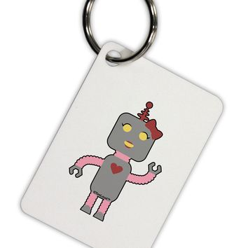 Cute Robot Female Aluminum Keyring Tag by TooLoud
