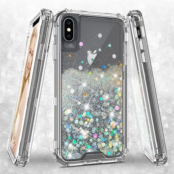 Apple iPhone XS Max Case,Hard Clear Glitter Sparkle Flowing Liquid Heavy Duty Shockproof Three Layer Protective Bling Girls Women Cases for Apple iPhone XS Max - Clear