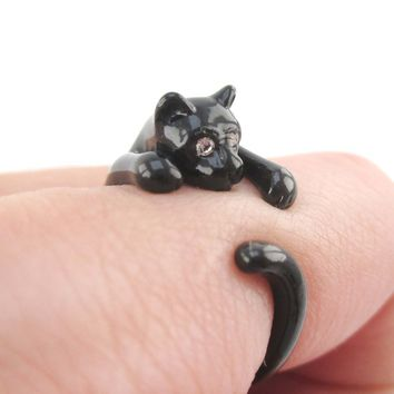 3D Black Kitty Cat Wrapped Around Your Finger Shaped Animal Ring