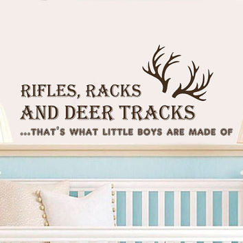 Wall Decals Quotes Racks and Deer Tracks, thats what little boys are made of Vinyl Sticker Decal Art Home Decor Mural Nursery Bedroom AN365