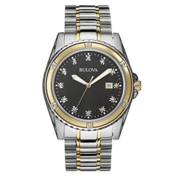 Bulova Diamond Collection Men's 42mm Square Diamond Dial Watch in Two-Tone Stainless Steel