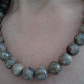 handmade  faceted moss agate stone necklace