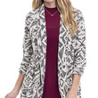 Geo Patterned Open Front Cocoon Cardigan