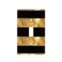 Black Gold Stripes Light Switch Cover